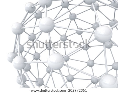 3d white molecular structure geometry model over white background with reflection - stock photo
