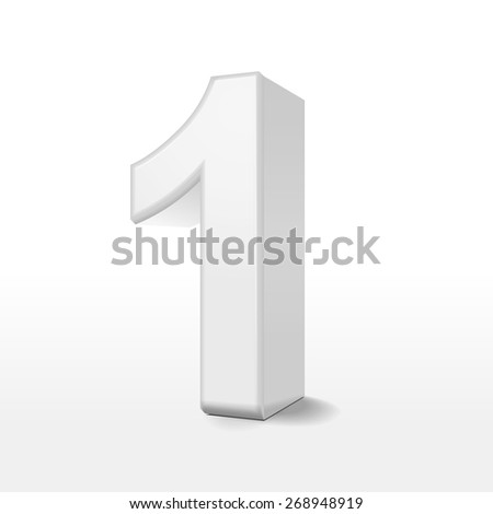 3d white number 1 isolated on white background