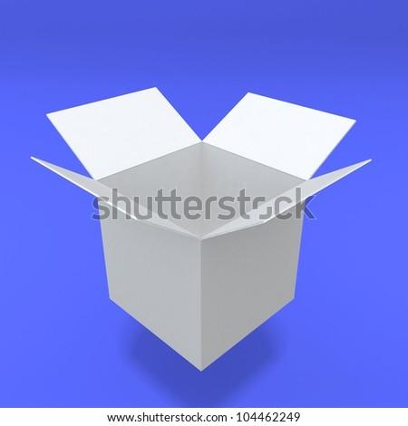 3d white open box - stock photo