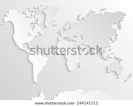 3d white paper world map with shadows/ illustrated background - stock photo