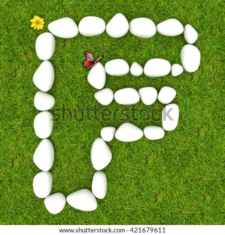 3d White pebble stone alphabet letter F on the green grass background