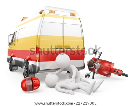 3d white people. Ambulance caring for an motorcyclist has had an accident. Isolated white background. - stock photo
