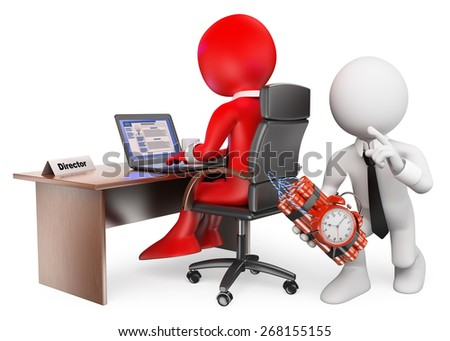 3d white people. Angry employee putting a bomb to his boss. Isolated white background. - stock photo