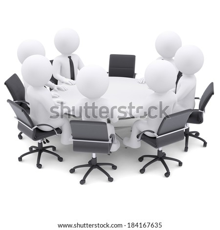 3d white people at the round table. One chair is empty. The concept is not complete conference - stock photo