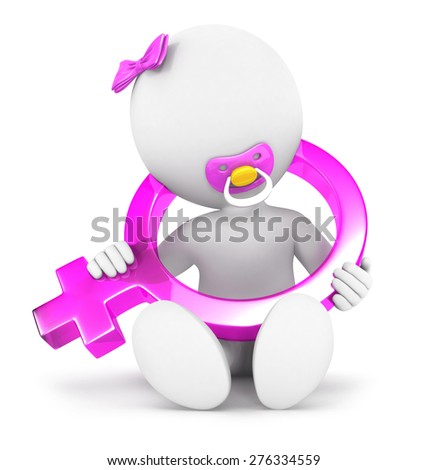 3d white people baby girl sign, isolated white background, 3d image - stock photo