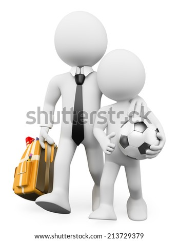 3d white people. Back to School with dad with backpack and soccer ball. Isolated white background. - stock photo