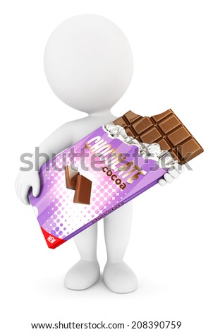 3d white people bar of chocolate, isolated white background, 3d image - stock photo