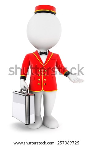 3d white people bellboy, isolated white background, 3d image - stock photo