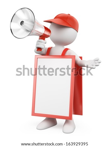 3d white people. Blank sandwich board man with a megaphone. Isolated white background. - stock photo