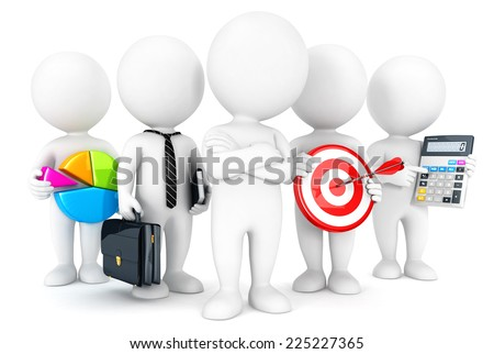 3d white people business concept, isolated white background, 3d image - stock photo