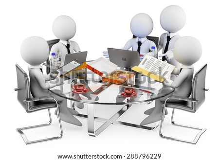 3d white people. Business informal meeting. Isolated white background. - stock photo