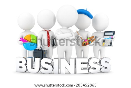 3d white people business jobs, isolated white background, 3d image - stock photo