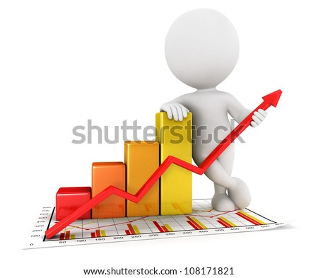 3d white people business statistic graph, isolated white background, 3d image - stock photo