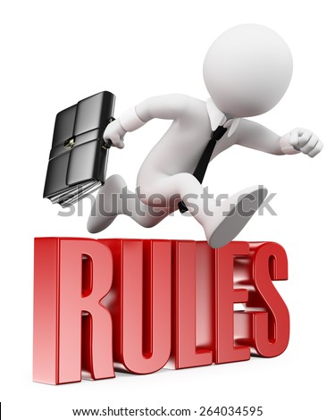 3d white people. Businessman breaking the rules. Business metaphor. Isolated white background.  - stock photo