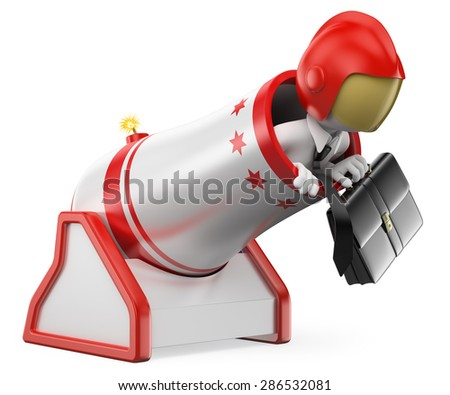3d white people.  Businessman cannonball. Risk concept. Isolated white background.  - stock photo