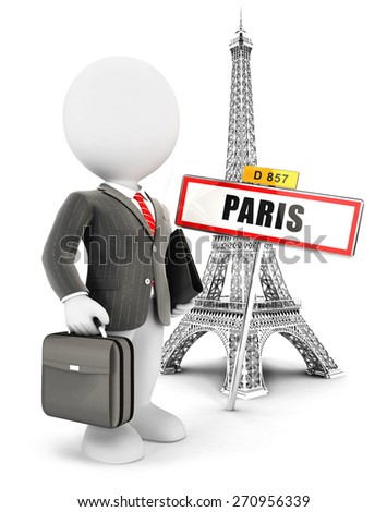 3d white people businessman in Paris, isolated white background, 3d image - stock photo