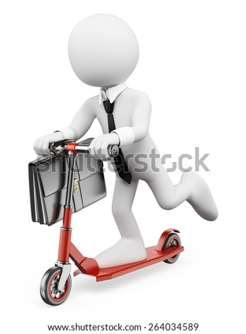 3d white people. Businessman on a scooter. Urban lifestyle. Isolated white background.  - stock photo