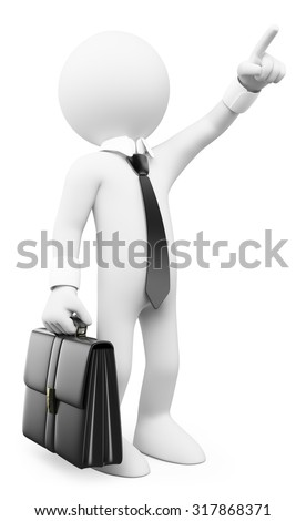 3d white people. Businessman pointing up. Isolated white background. - stock photo