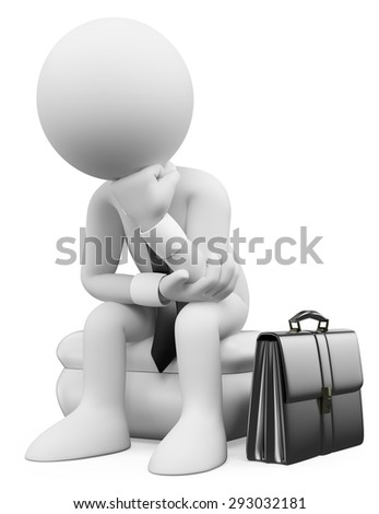 3d white people. Businessman sitting and thinking with his suitcase. Isolated white background. - stock photo