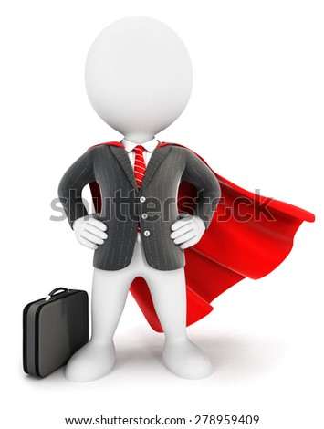 3d white people businessman superhero, isolated white background, 3d image