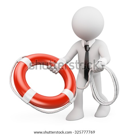 3d white people. Businessman throwing a life preserver. Isolated white background. - stock photo