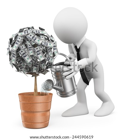 3d white people. Businessman watering a money plant. Isolated white background. - stock photo