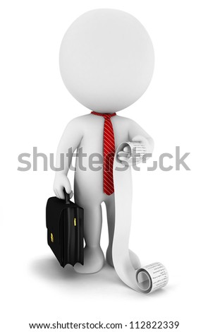 3d white people businessman with a list, isolated white background, 3d image