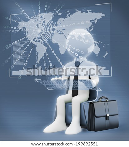 3d white people. Businessman with a virtual global world interface.