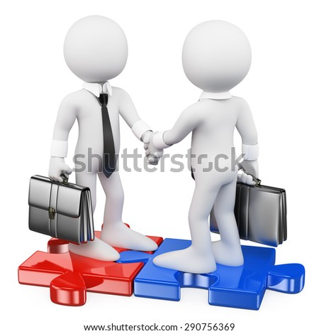 3d white people.  Businessmen on puzzle pieces closing a deal. Isolated white background. - stock photo