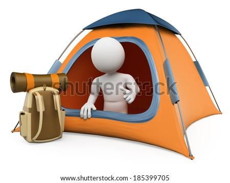 3d white people. Camping tent. Isolated white background.  - stock photo