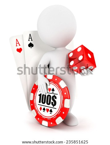 3d white people casino accessories, isolated white background, 3d image - stock photo
