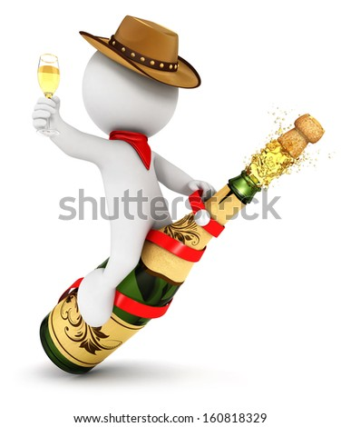 3d white people champagne rodeo, isolated white background, 3d image - stock photo