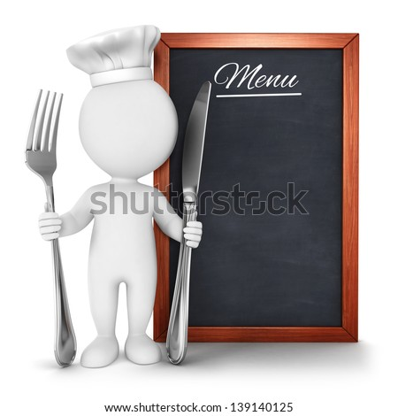 3d white people chef with menu, isolated white background, 3d image - stock photo