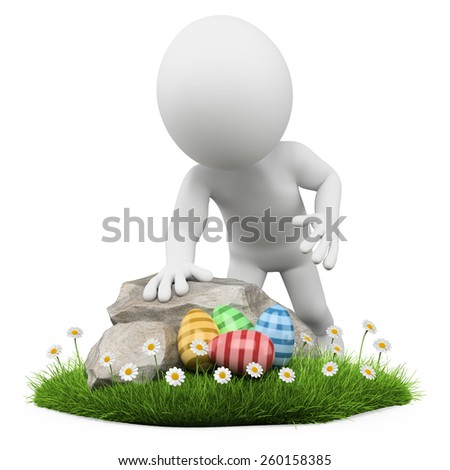 3d white people. Child looking for an Easter egg. Isolated white background. - stock photo