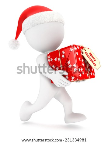 3d white people christmas express delivery, isolated white background, 3d image - stock photo
