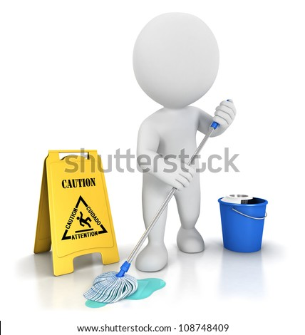3d white people cleaner with a mop, a bucket and warning sign, isolated white background, 3d image - stock photo