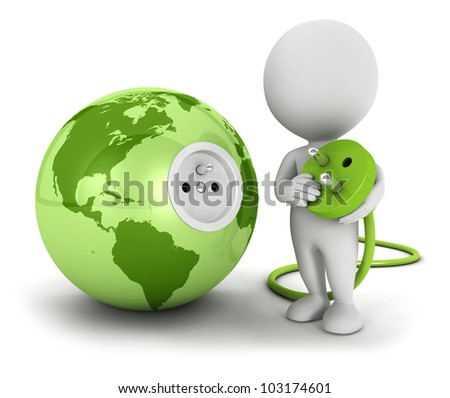3d white people connects plug inside green earth, isolated white background, 3d image - stock photo