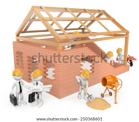 3d white people.  Construction workers building a house. Architects. Isolated white background.  - stock photo