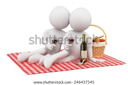 3d white people. Couple in a romantic picnic on valentines day. Isolated white background. - stock photo