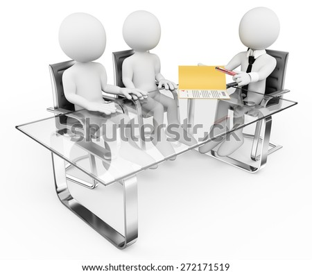 3d white people. Couple in the bank signing a contract. Mortgage. Isolated white background. - stock photo