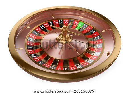 3d white people. 3D Casino roulette. Isolated white background.