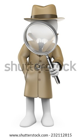 3d white people. Detective. Private Investigator with a magnifying glass. Isolated white background. - stock photo