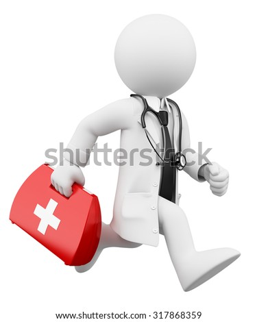 3d white people. Doctor running with a first aid kit. Isolated white background. - stock photo