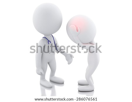 3d white people doctor with stethoscope checking people with headache. Stress concept Isolated white background