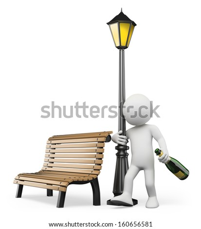3d white people. Drunk hugging a lamppost with a bottle of champagne. Isolated white background. - stock photo