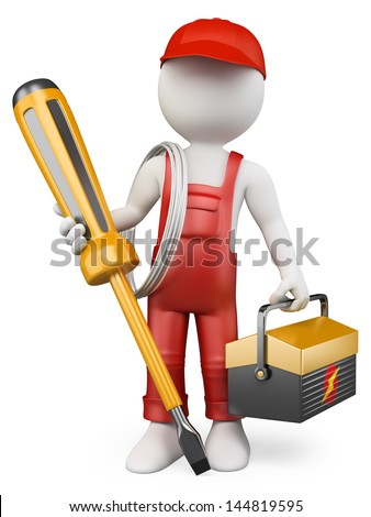 3d white people. Electrician with tool box and screwdriver . Isolated white background.