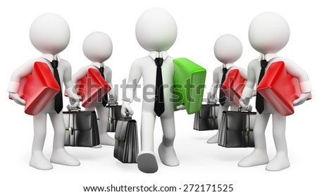3d white people. Entrepreneur. Leader with a green arrow. Businessman Success. Isolated white background. - stock photo