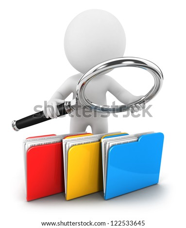 3d white people examines files, isolated white background, 3d image - stock photo