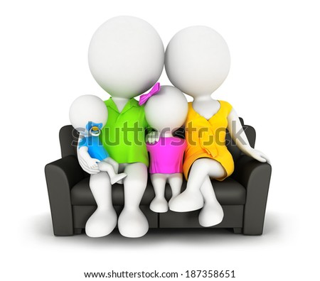 3d white people family sitting on sofa, isolated white background, 3d image - stock photo