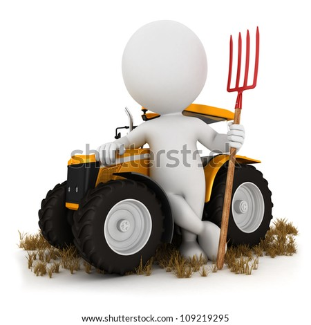 3d white people farmer with a tractor and a pitchfork, isolated white background, 3d image - stock photo